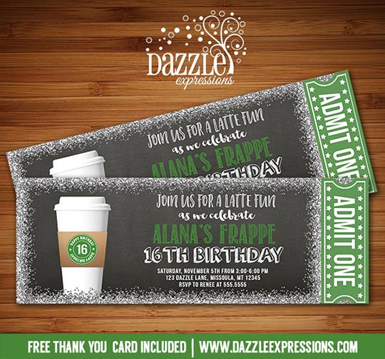 Free Birthday Starbucks ~ Printable coffee latte glitter chalkboard ticket birthday invitation starbucks inspired