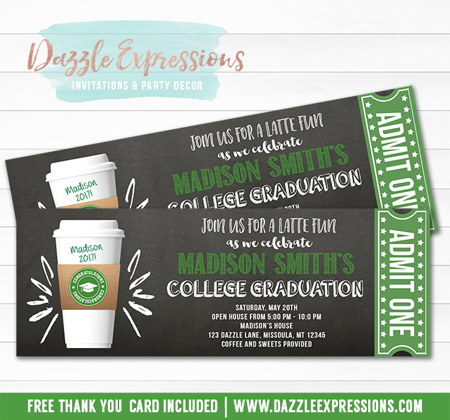 Latte Chalkboard Ticket Graduation Party Invitation - FREE thank you card included