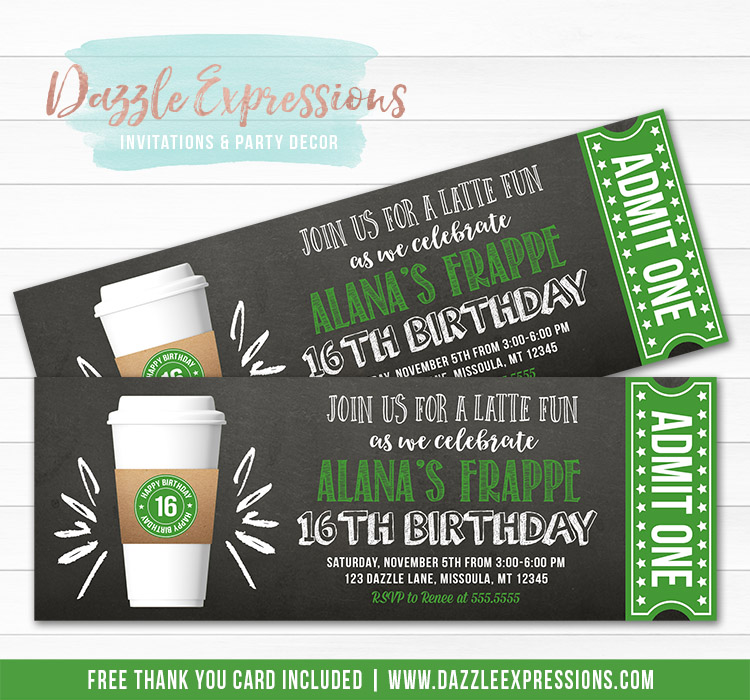Latte Coffee Cup Chalkboard Ticket Invitation 1 - FREE thank you card included