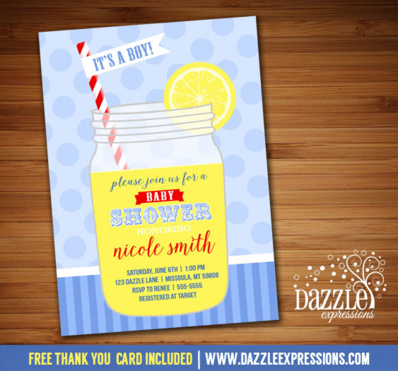 Lemonade Baby Shower Invitation - FREE thank you card included