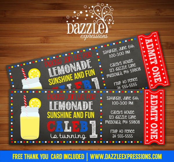 Lemonade Chalkboard Ticket Invitation - FREE thank you card included