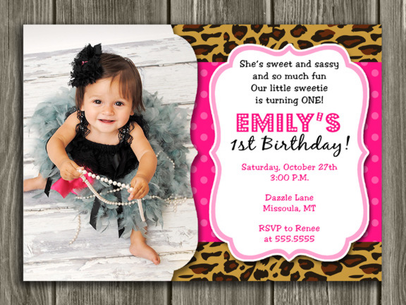 Printable Girl Leopard Print Birthday Photo Invitation Animal