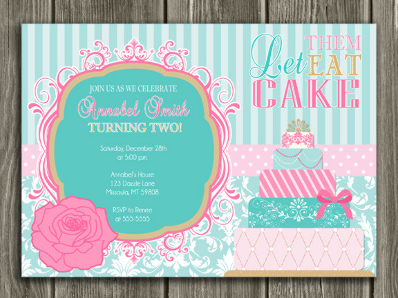 Let Them Eat Cake Birthday Invitation - FREE thank you card included