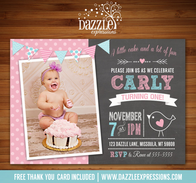 Little Bird Chalkboard Birthday Invitation - FREE thank you card included