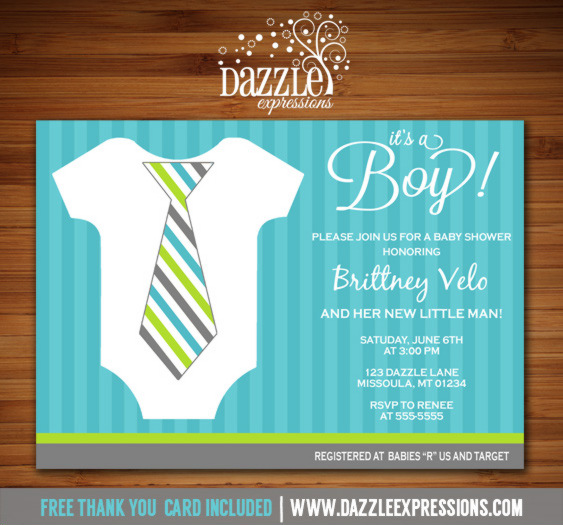 Little Man Baby Shower Invitation - FREE thank you card included