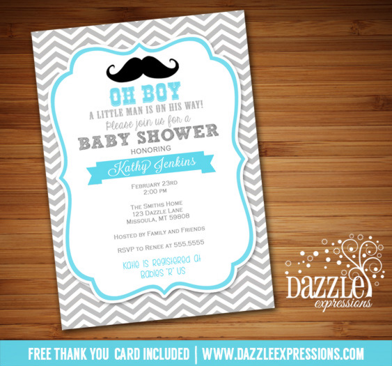 Little Man Mustache Baby Shower Invitation - FREE thank you card included