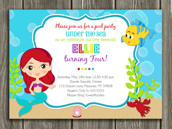 Printable little mermaid birthday invitation girl birthday party mermaid birthday invitation 2 free thank you card filmwisefo