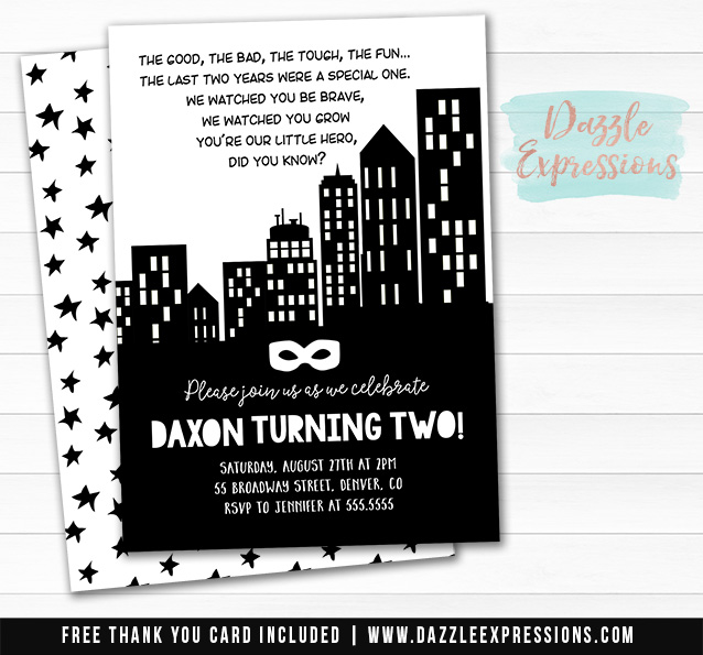 Little Hero Invitation 2 - FREE thank you card included
