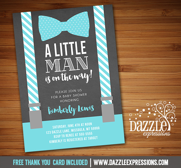 printable little man suspenders chalkboard baby shower invitation, Baby shower