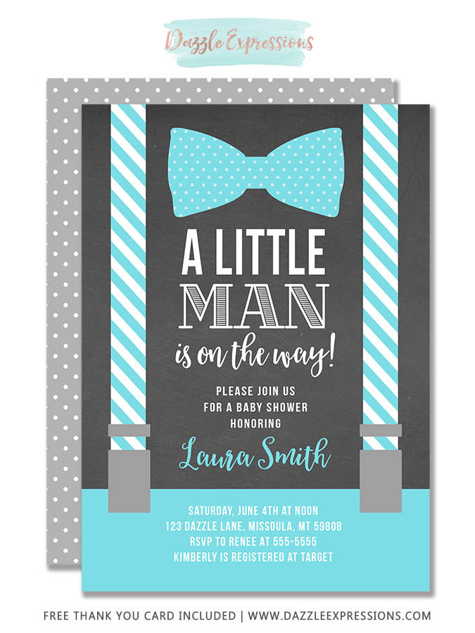 picture about Printable Man Card named Printable Small Gentleman Suspenders Chalkboard Kid Shower Invitation - Bow Tie - Kid Boy
