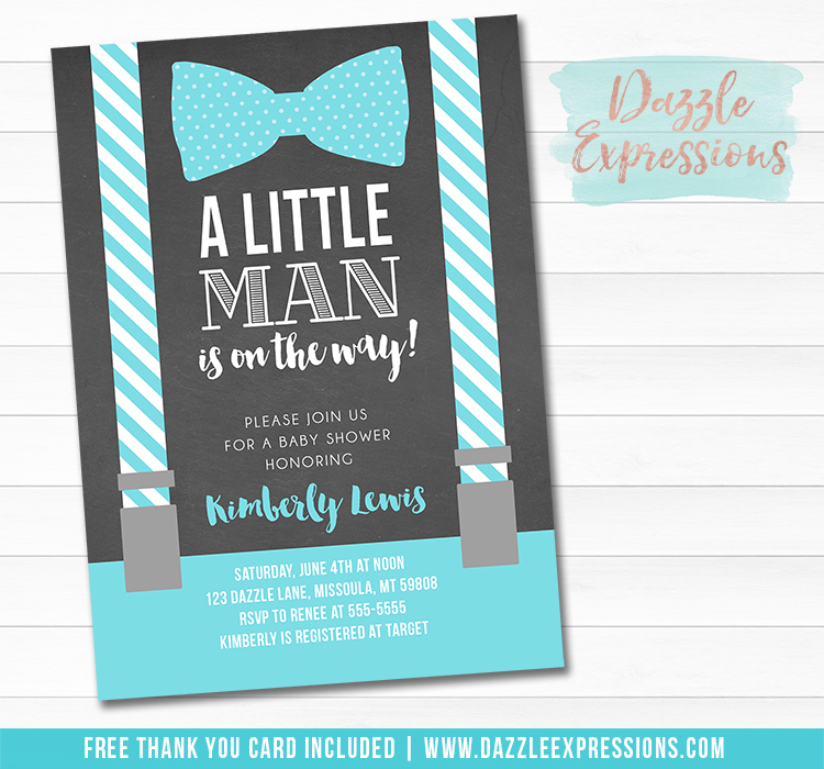 Little Man Suspenders Chalkboard Baby Shower Invitation - FREE thank you card
