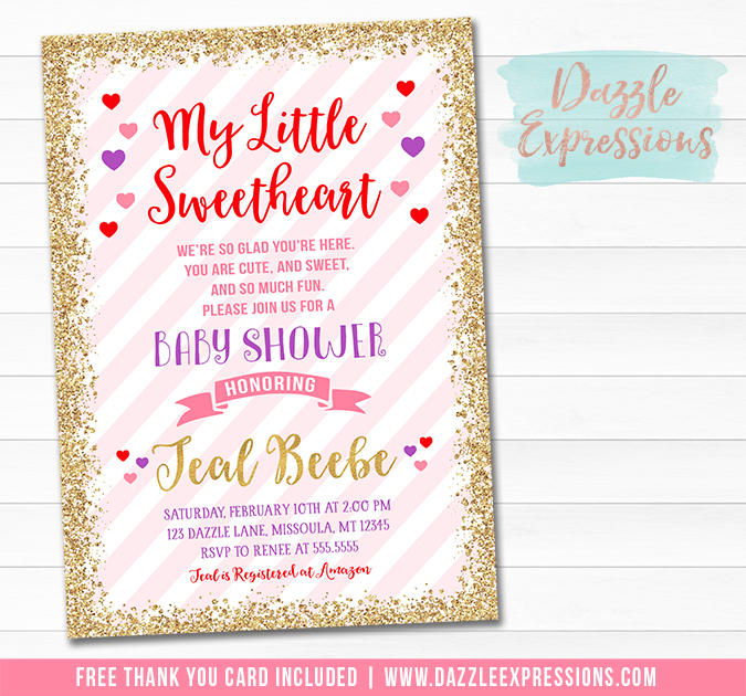 Little Sweetheart Baby Shower Invitation - FREE thank you card included