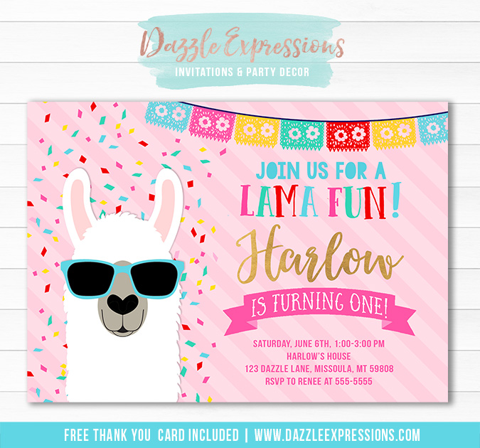 Llama Birthday Invitation 1 - FREE thank you card