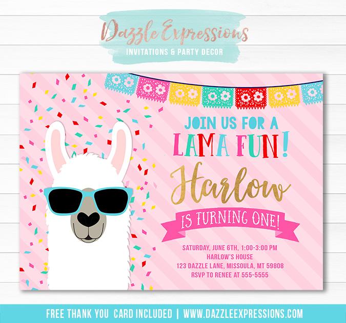 Printable Llama Birthday Invitation Kids Fiesta Party