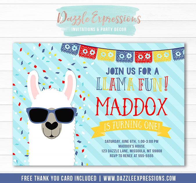 Llama Birthday Invitation 2 - FREE thank you card
