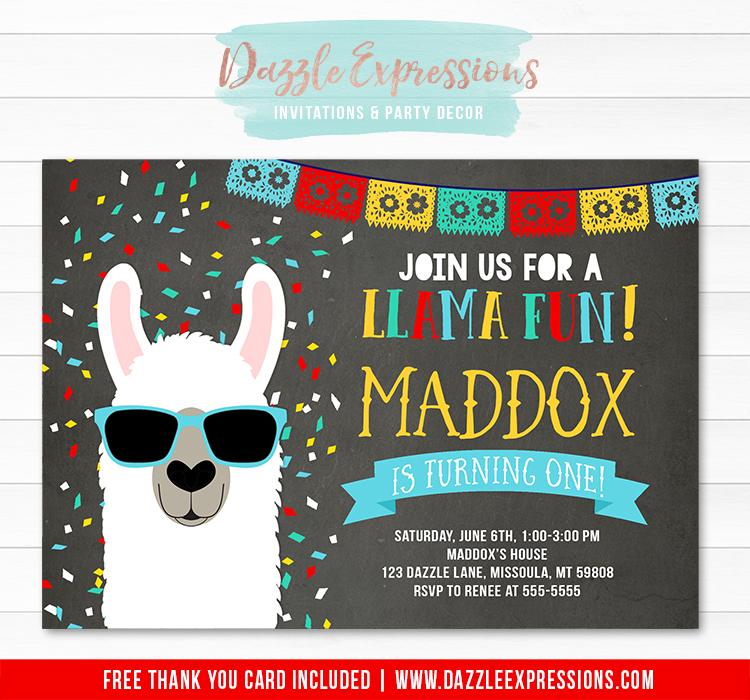 Llama Chalkboard Invitation 2 - FREE thank you card