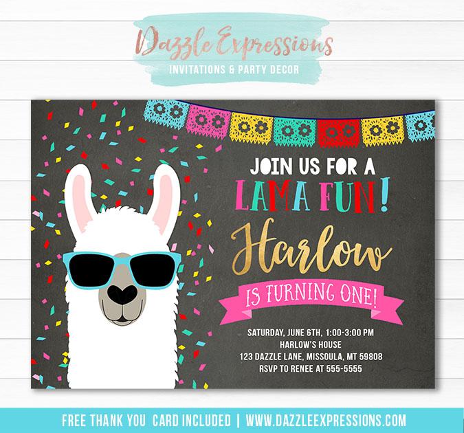 Llama Chalkboard Invitation 1 - FREE thank you card