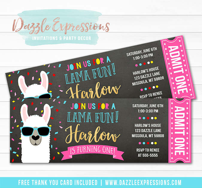 Llama Chalkboard Ticket Invitation 1 - FREE thank you card