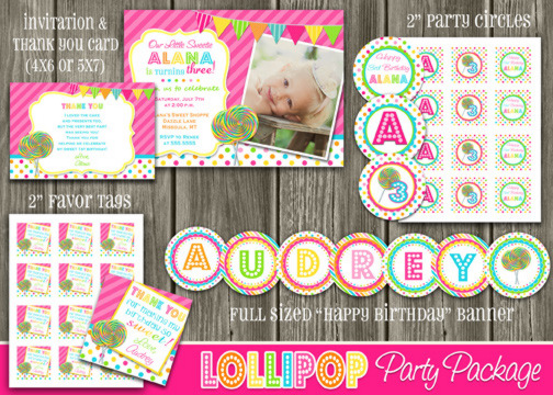 Lollipop Complete Party Package - Printable