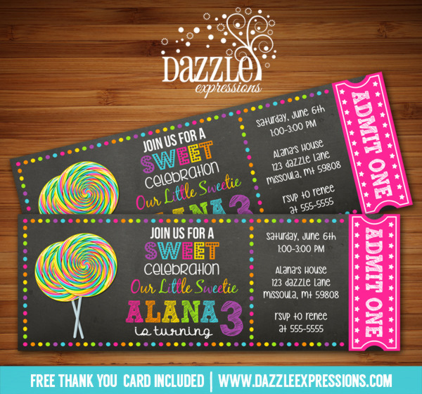 Lollipop Chalkboard Ticket Invitation - FREE thank you card included
