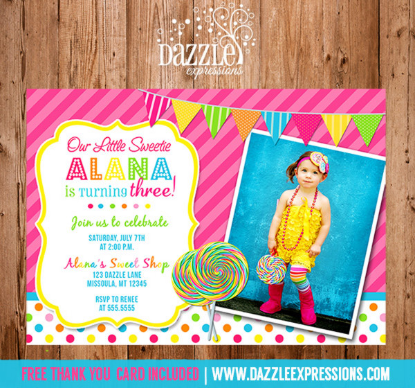 Lollipop Birthday Invitation - FREE thank you card included