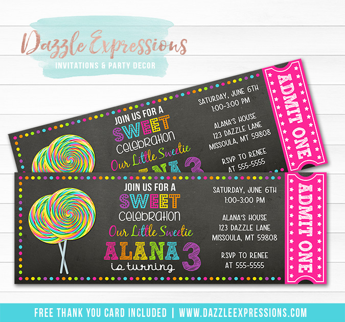Lollipop Chalkboard Ticket Invitation 1 - FREE thank you card included