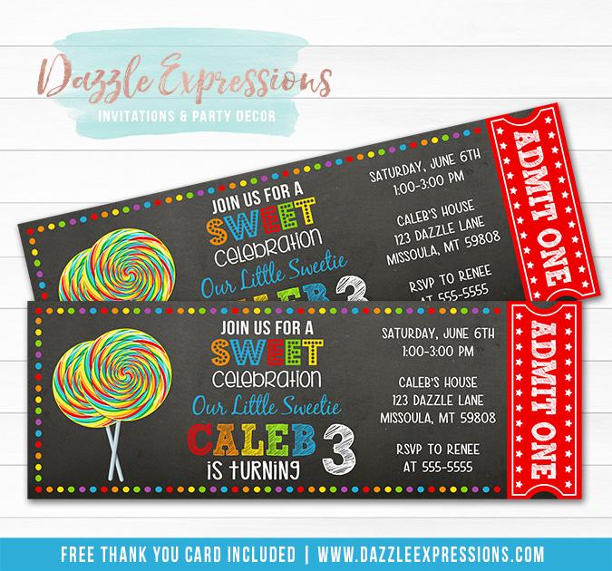 Lollipop Chalkboard Ticket Invitation 2 - FREE thank you card included