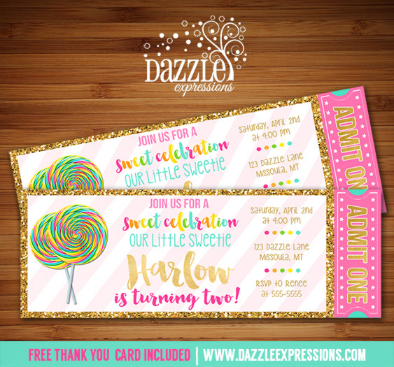 Printable gold glitter lollipop ticket birthday invitation candy lollipop with gold ticket invitation free thank you card filmwisefo