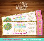 Lollipop with Gold Ticket Invitation - FREE thank you card