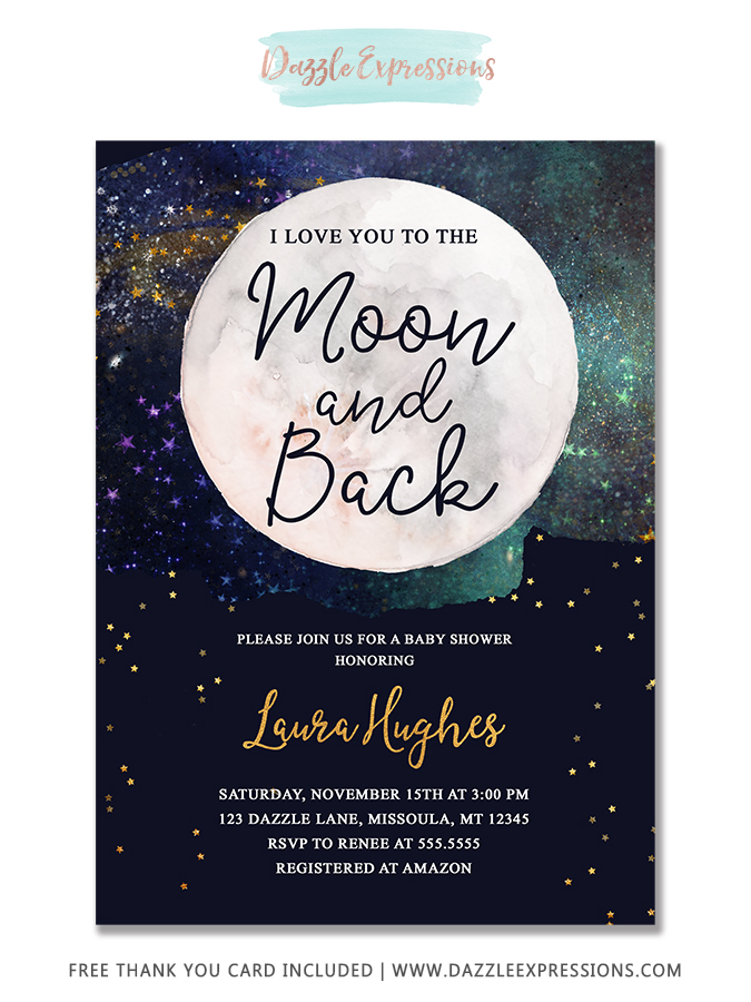 I Love You to the Moon Back Baby Shower Invitation - FREE thank you card