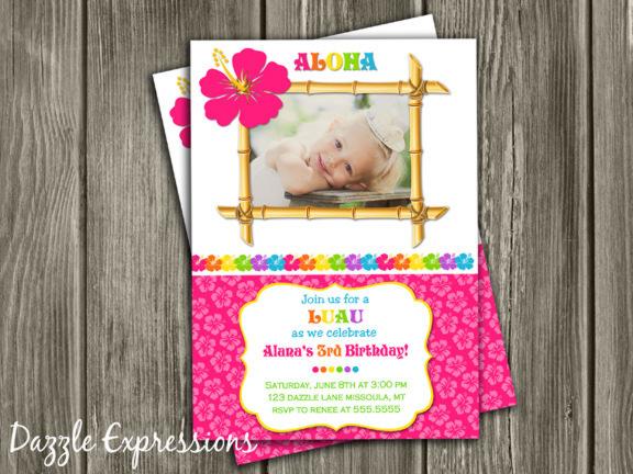 Printable Girl Luau Birthday Photo Invitation