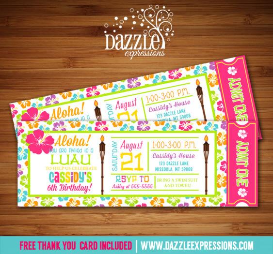 Fresh Printable Luau Ticket Birthday Invitation - Hawaii - Pool Party  PV41
