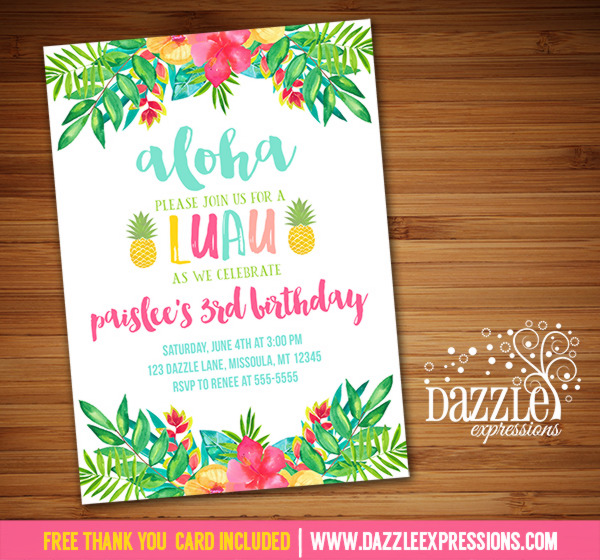 image relating to Printable Luau Invitations known as Printable Luau Birthday Invitation - Tropical Watercolor Bouquets - Hawaiian Occasion