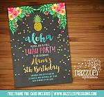 Pineapple Luau Chalkboard Birthday Invitation - FREE thank you card