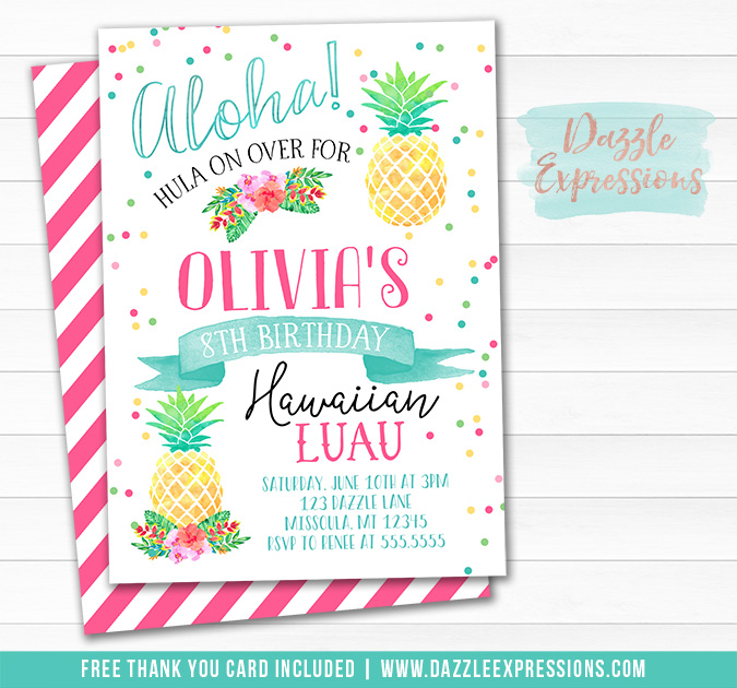 Luau Watercolor Birthday Invitation - FREE thank you card