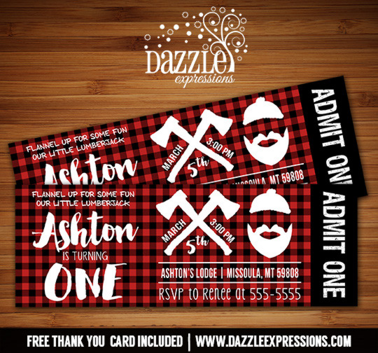 Lumberjack Ticket Birthday Invitation 2 - FREE thank you card included