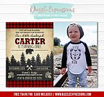 Lumberjack Plaid Invitation 1 - FREE thank you card included