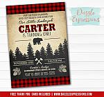 Lumberjack Plaid Invitation 2 - FREE thank you card included
