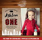 Winter Plaid Birthday Invitation 1 - FREE thank you card included