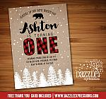 Winter Plaid Birthday Invitation 2 - FREE thank you card included