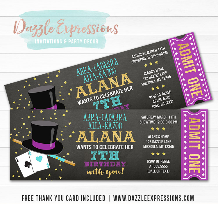 Magic Show Chalkboard Ticket Invitation 4 - FREE thank you card