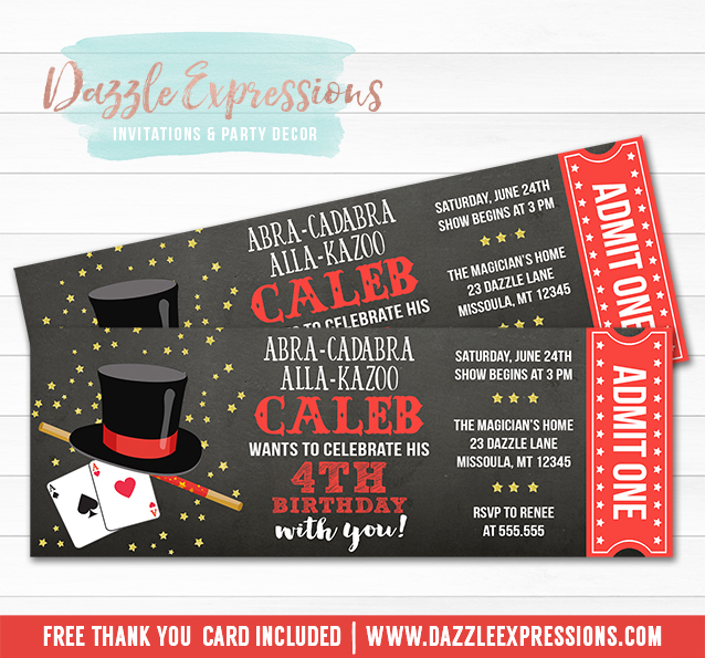 Magic Show Chalkboard Ticket Invitation 1 Free Thank You Card Included