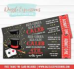 Magic Show Chalkboard Ticket Invitation 1 - FREE thank you card included