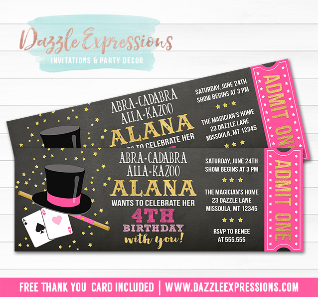 Printable Girl Magic Show Chalkboard Ticket Birthday