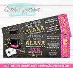 Magic Show Chalkboard Ticket Invitation 2 - FREE thank you card included