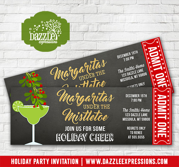Margaritas Under the Mistletoe Holiday Party Ticket Invitation