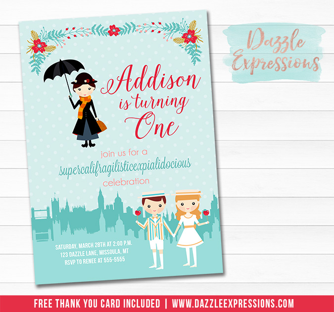 Mary Poppins Inspired Invitation - FREE thank you card