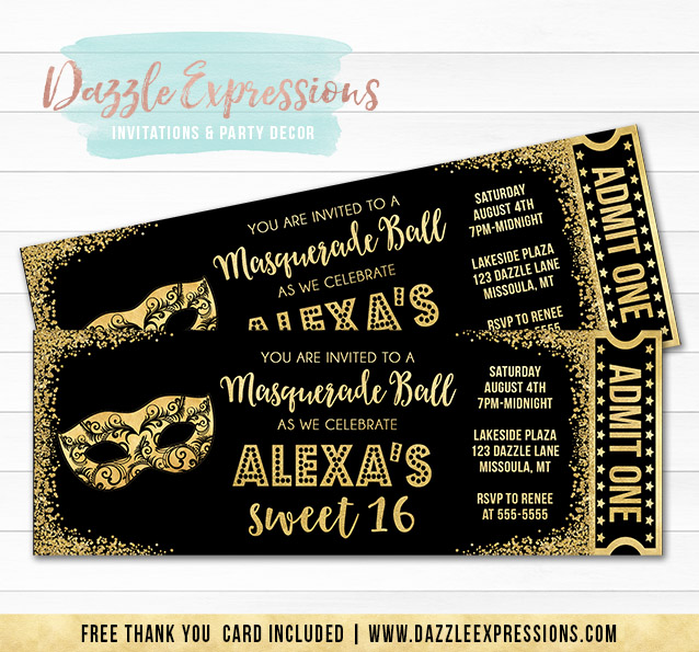 Printable Black And Gold Masquerade Ticket Birthday Invitation