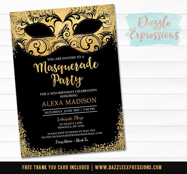 Printable Black And Gold Masquerade Birthday Invitation