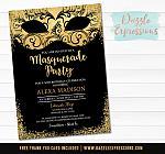 Masquerade Birthday Invitation 1 - FREE thank you card